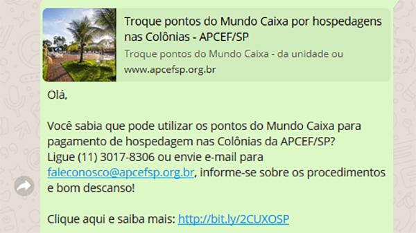 Receba informações sobre as atividades da APCEF/SP pelo WhatsApp