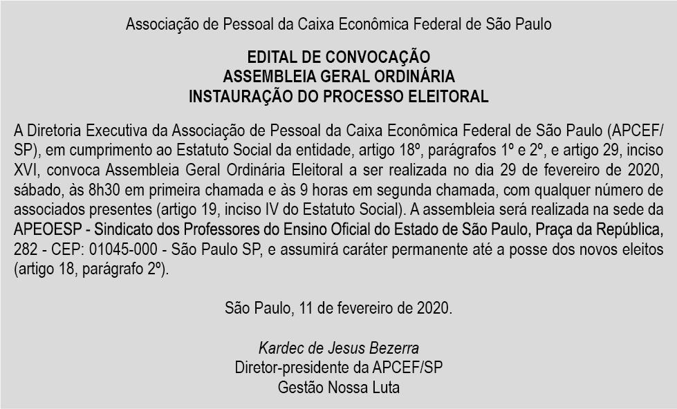 A APCEF/SP divulga Edital de Convocação