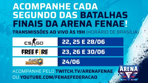 Arena Fenae: torneio on-line de esportes eletrônicos segue nas finais com premiações incríveis