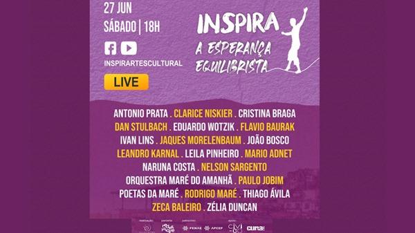Live patrocinada pela Fenae e APCEFs vai reunir João Bosco, Zeca Baleiro, Ivan Lins, Zélia Duncan e outros grandes nomes