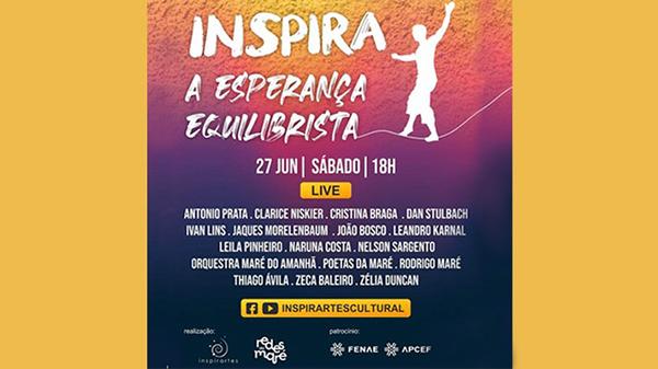 """Fenae patrocina live """"Inspira: a Esperança Equilibrista"""" em 27 de junho"""