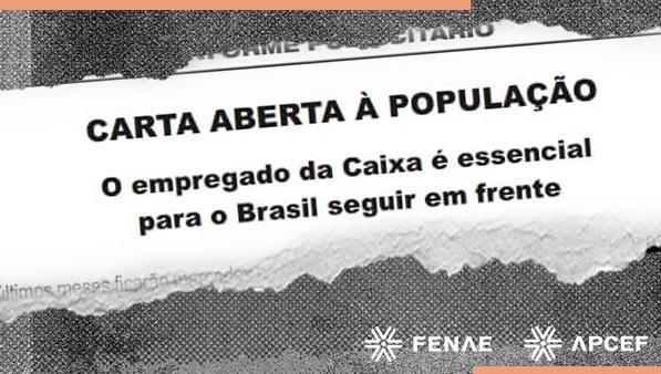Fenae divulga na imprensa carta aberta à população em defesa dos empregados da Caixa