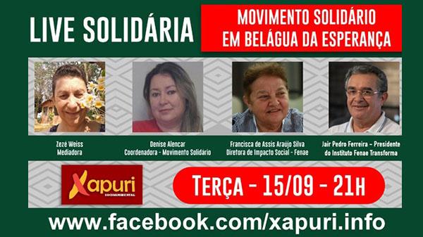 Movimento Solidário é tema de live da Xapuri Ambiental hoje, às 21h
