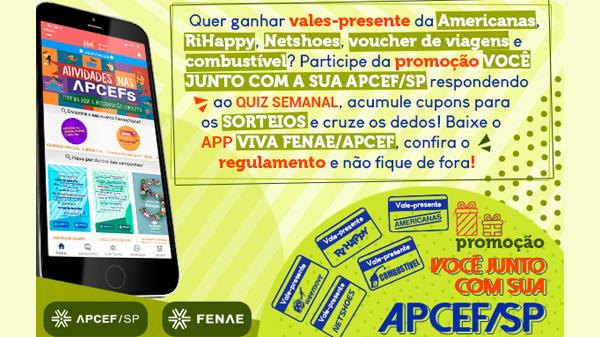 """Quinta-feira (22) tem mais um quiz na promoção """"Você junto com a sua Apcef/SP""""."""