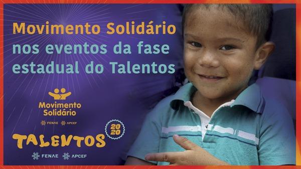 Doação ao Movimento Solidário será incentivada nas lives do Talentos 2020