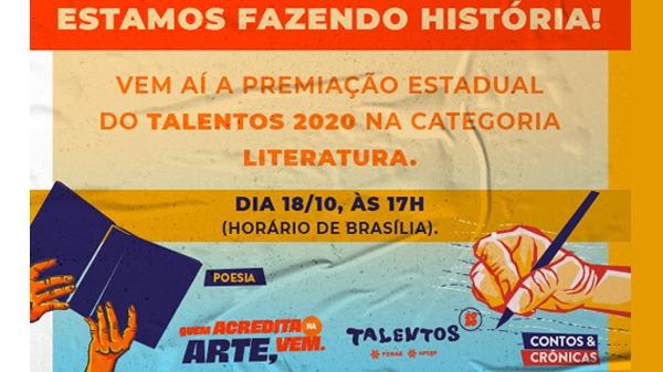 Talentos 2020: vencedores da categoria Literatura serão conhecidos no domingo