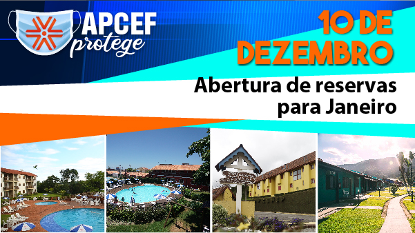Já estão abertas as reservas para janeiro nas Colônias da Apcef/SP