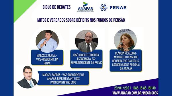 Anapar e Fenae promovem debate sobre déficits nos fundos de pensão nesta sexta-feira (29)