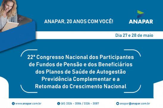 Anapar inscreve para Congresso que será realizado em maio sobre previdência complementar