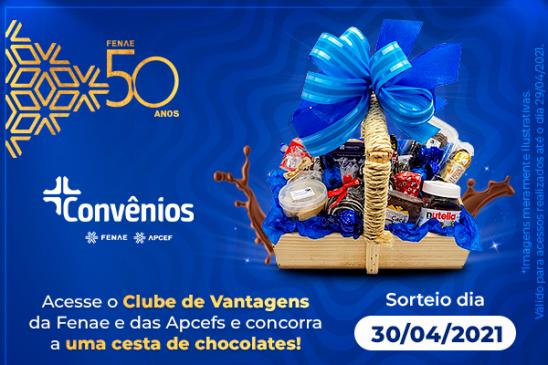 Convênios: sorteio de abril do aniversário de 50 anos da Fenae será uma cesta de chocolate