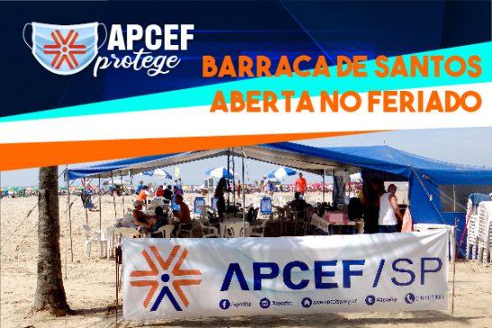 Barraca da Apcef/SP na praia do Gonzaga estará aberta no feriado de 9 de julho