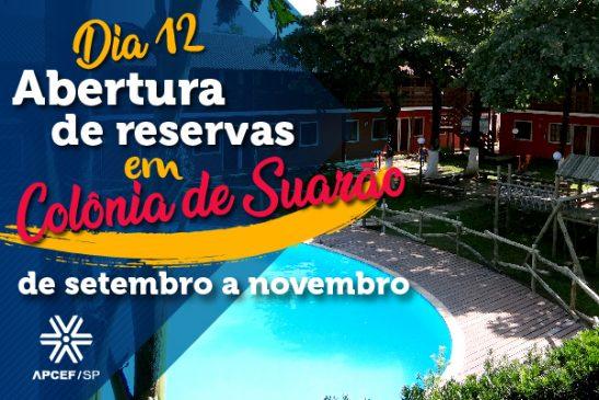 Reservas para hospedagem até novembro, em Suarão, serão abertas dia 12