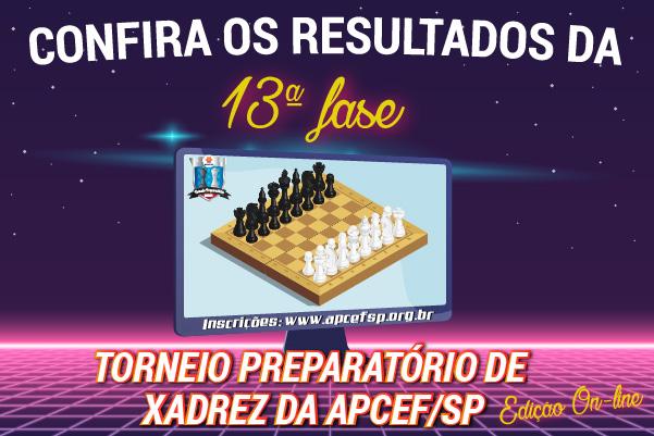 13ª fase do Torneio de Xadrez foi encerrada em 17 de agosto. Confira os resultados