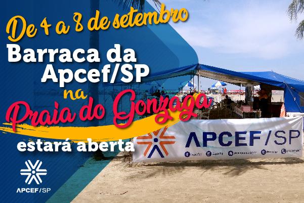 Barraca da Apcef/SP na praia do Gonzaga estará aberta de 4 a 8 de setembro