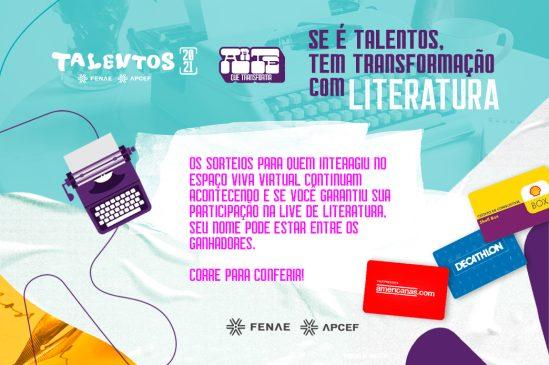 TalentosFenae 2021: Interagiu na live Literatura? Confira o resultado do sorteio